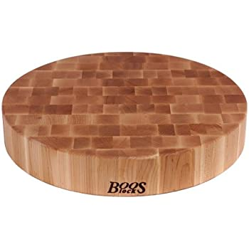 John Boos Maple Wood End Grain Round Butcher Block Cutting Board, 18 Inches Round x 3 Inches