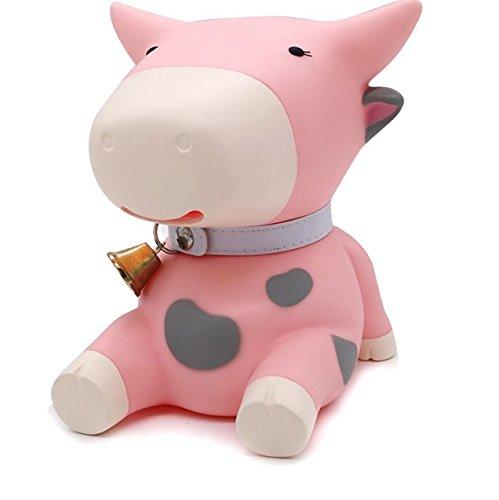 Aidou Cute Cow Piggy Bank Plastic Money Storage Box Cartoon Child Money Box-Pink