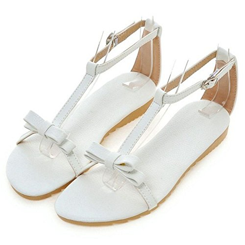 COOLCEPT Mujer Moda Correa En T Sandalias Punta Abierta Planos Zapatos With Bowknot Chicas Colegio Blanco