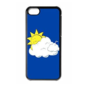 Iphone 5C Case, Cartoon Sun Eating Clouds Case for Iphone 5C black lm2c17897064