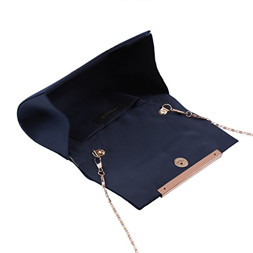 Satin Evening Party Bag Womens Damara Clutch Sleek blue Pleated Formal Medium Dark 0w88zx
