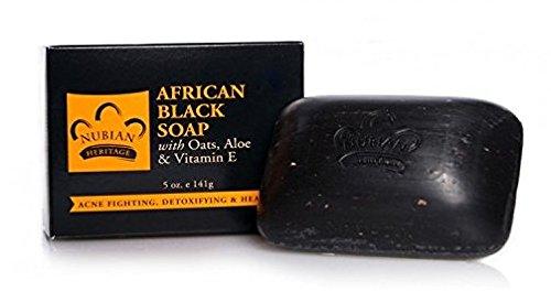 Nubian Heritage African Black Soap, 5 oz (4 Pack) (African Black Soap Bar)