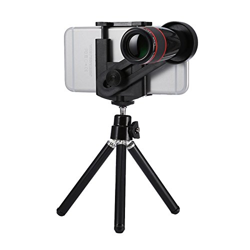 HD Telescope Universal 12x Zoom Optical Telescope Telephoto Camera Lens Kit, Suitable for Width as 5.5cm-8.5cm Mobile Phone (Color : Black) by Gladnt