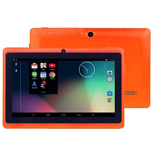Hometom Tablet PC, 7'' Tablet Android 4.4 Quad Core HD 1080x720, Dual Camera Blue-Tooth Wi-Fi, 8GB 3D Game Supported (Orange) by Hometom