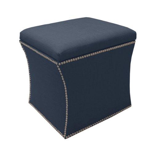 Skyline Furniture Nail Button Storage Ottoman in Linen, Navy