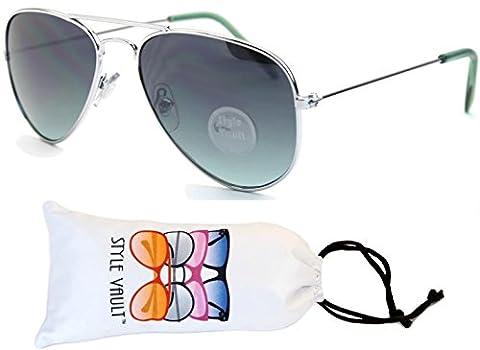 Kd3053-vp Kids (2-8 yrs) Metal Aviator Sunglasses (P2701C Silver-Green Smoked, smk) - Wire Frame Gradient Sunglasses