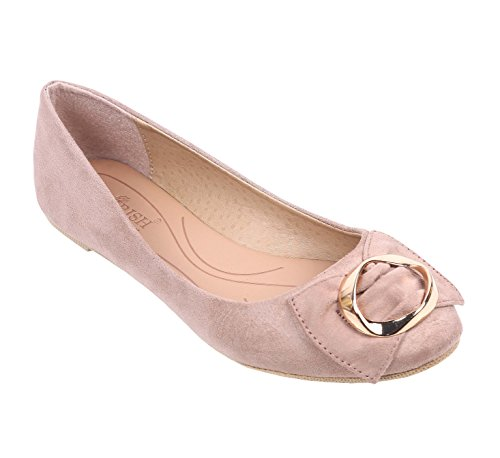 Women Flat Closed Toe Bow Tie Gold-plated Buckle Faux Suede Taupe Color (6, Taupe)