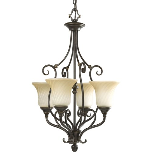 Light Foyer Fixture Forged - Progress Lighting P3464-77 4-Light Kensington Pendant Light, Forged Bronze