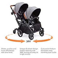 Whether cruising through the burbs or sightseeing in the city, the Contours Curve makes strolling with two a breeze. Its unique 6-wheel design makes steering and turning as easy as a single stroller. Specifically engineered to perform with th...