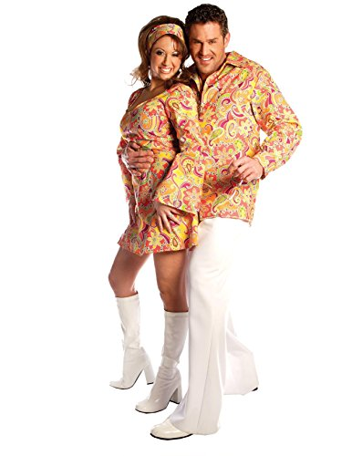 Men's Orange Groovy Disco Adult Costume (Disco Costumes For Couples)