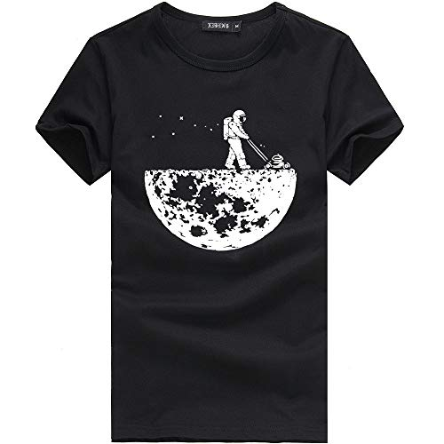 - Mens Graphic t-Shirt, Astronaut Pattern Short Sleeve Tee Classic Crew t-Shirt for Casual Athletic(Black, M)