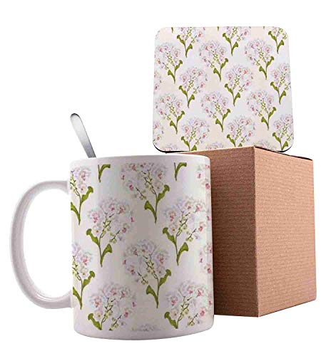 (Phalaenopsis White Flowers Tropical Plants Green Stem and Buds Pattern Olive Green Ivory Pink Ceramic Cup with Spoon & Coaster Creative Morning Mug Milk Coffee Tea Unique Porcelain Cup Mug 11oz )