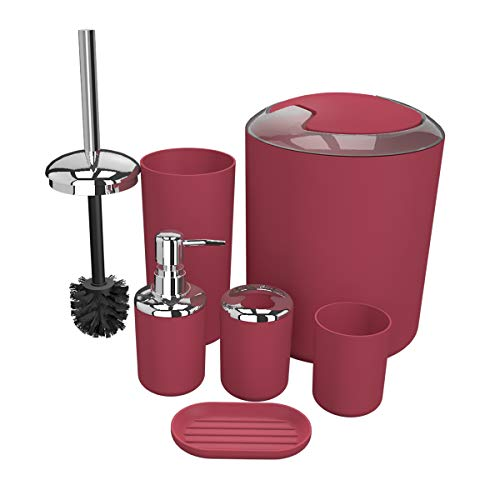 Bathroom Accessories Set 6 Pieces Plastic Bathroom Accessories Toothbrush Holder, Rinse Cup, Soap Dish, Hand Sanitizer Bottle, Waste Bin, Toilet Brush with Holder (red)