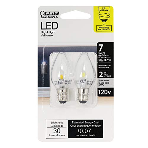Feit Electric BPC7/LED Three LED Night Light Bulb with Candelabra Base, Clear, Pack of 2