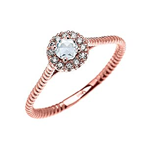 10k Rose Gold Dainty Halo Diamond and Solitaire Aquamarine Rope Design Promise Ring