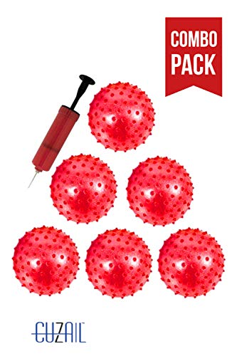(CUZAIL Party Favor Glitter Knobby Bounce Ball - 12 Inflatable Balls with Pump)