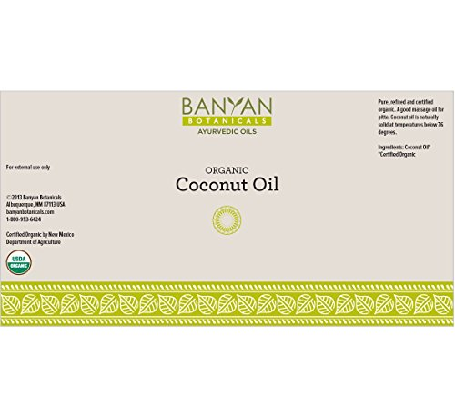 Banyan Botanicals Coconut Oil, Certified Organic, 14.5 oz - Pure, Refined - A Good Massage Oil for Pitta