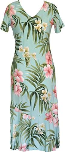 Robert J. Clancey RJC Women's Breathtaking Island Getaway Tea Length Cap Sleeve Hawaiian Dress Aqua Q3X Plus