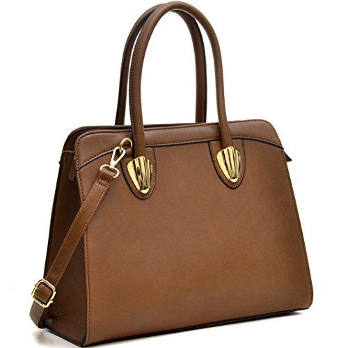 Dasein Women's Top Zip Double Handle Structured Work Tote Satchel Handbags Shoulder Bag Purse Coffee Double Top Zip Shoulder Bag