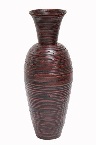 Heather Ann Creations Keira Decorative Spun Bamboo Vase, Red/Black