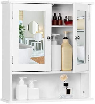 YAHEETECH Bathroom Medicine Cabinet Wall Mount Mirror Cabinet with Double Doors and Adjustable Shelf, Wooden Storage Cabinets Organizer for Kitchen, Accent Home Furniture, White