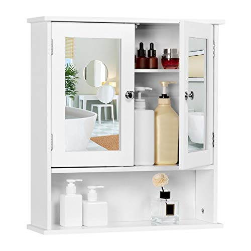 Yaheetech Bathroom Medicine Cabinet Wall Mount Mirror Cabinet with Double