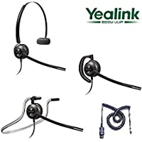 Yealink Compatible Plantronics EncorePro 540 Noise-Canceling Headset Bundle for Yealink SIP-T19P SIP-T20P SIP-T21P SIP-T22P SIP-T26P SIP-T28P SIP-T32G SIP-T38G SIP-T41P SIP-T42G SIP-T46G SIP-T48G