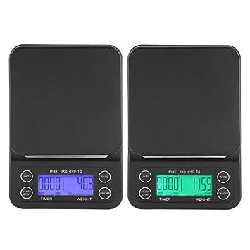 ZHANGYUGE 3Kg/0,1G Electrónica Digital LCD Báscula de Cocina con cafetera de Goteo del Temporizador de Cocina Barra de pesaje balanza alimentaria,Verde,0 ...