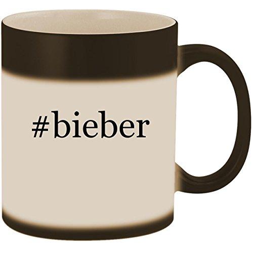 #bieber - 11oz Ceramic Color Changing Heat Sensitive Coffee Mug Cup, Matte Black