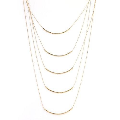 United Elegance - Trendy Gold Tone Multi-Strand 5 Bar Necklace (Gold 5 Bar)