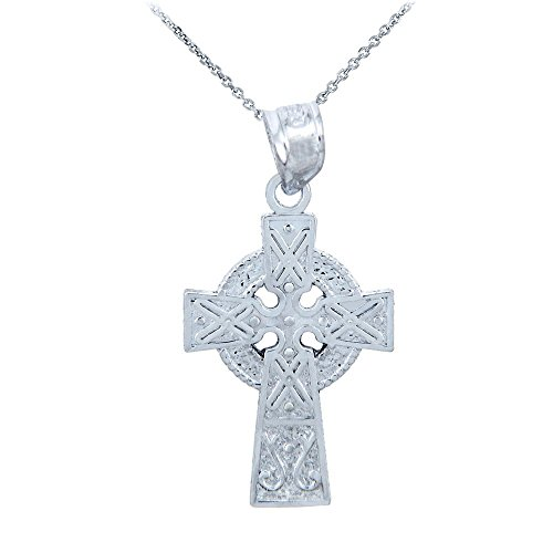 925 Sterling Silver Celtic Charm Gaelic Cross Pendant Necklace, ()