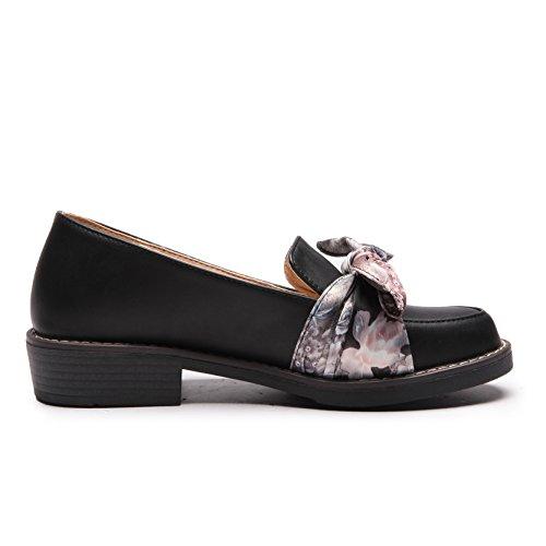 YE Damen Chunky Heels Slipper Pumps mit Schleife und Niedrigem Absatz Bequem Schuhe Schwarz