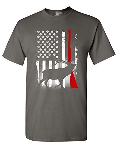 Deer Antlers Gun Hunting American Flag Patriotic DT Adult T-Shirt Tee