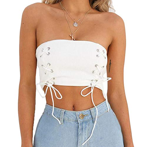 Susupeng Women Sexy Off Shoulder Stripless Cross Lace Up Tube Crop Tops Casual Camis Tank Tops (Small, White) ()