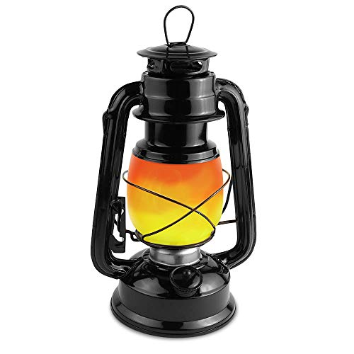 Unilamp Flame Light Vintage Lantern, Antiqued Copper Flickering 2 Modes, Full White and Flame Effect with Battery Operated, Decorative Hanging/Table Top Hurricane Lanterns for Outdoor Indoor