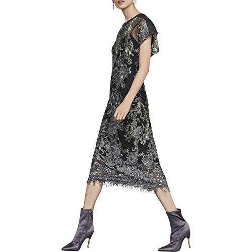- BCBG Max Azria Womens Metallic Embroidered Sheer Lace Midi Dress Black Size 2