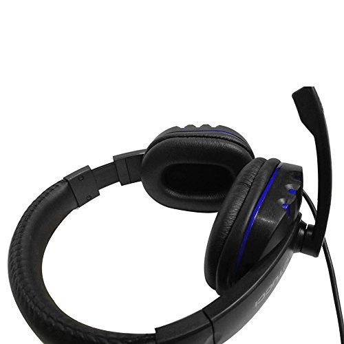 Wired Headset, MMHDZ X6 Game Headphone with Microphone Revolution Volume Control Noise ReductionEasy Accessible Button Controls, Rotating Ear Cups, Leather Sports Performance Ear Pads (Black+Blue) by MMHDZ (Image #3)