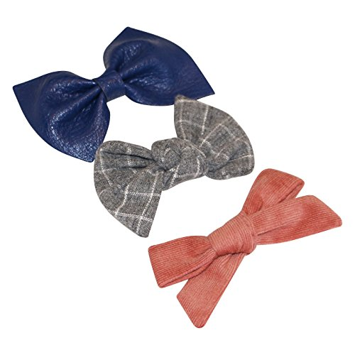 Girls Hair Bows (3 pack) - Alligator Clip Hair Accessories - by Clara Josie (Rose Corduroy, Navy Leather, Grey Grid)