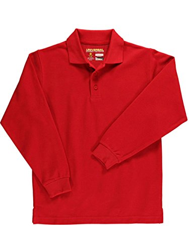 Universal Unisex L/S Pique Polo - red, 20 by Universal School Uniforms
