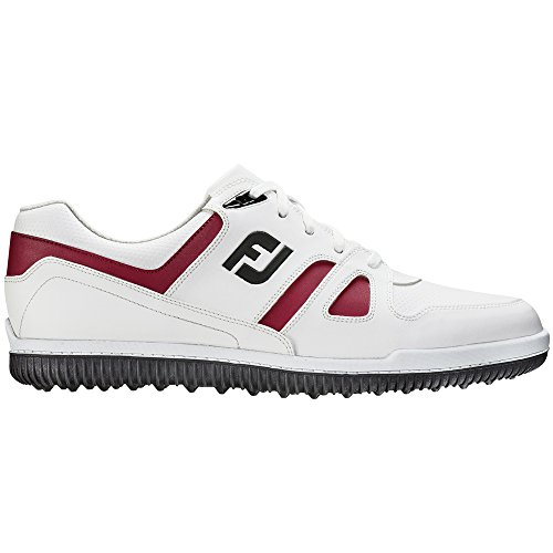 Footjoy Greenjoys Golf Shoes (White/Burgandy, 11.5 Medium) 45314