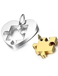 Flongo Men's Women's 2PCS Couples Stainless Steel Matching Jigsaw Puzzle Heart Pendant Necklace