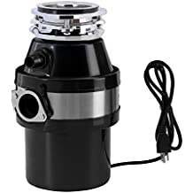 KUPPET Garbage Disposals, 1.0 HP 2600 RPM Continuous Food Feed, For Household Home Kitchen, Large Capacity Waste Disposal With Plug,Black