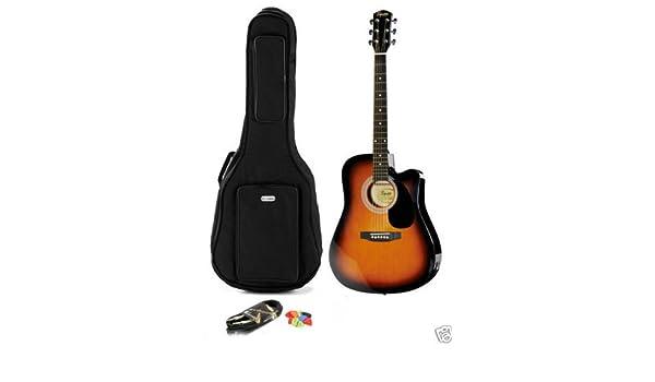 Guitarra acústica electrificada Fender Squier SA-105CE SunBurs + bolsa con correa + accesorios: Amazon.es: Instrumentos musicales