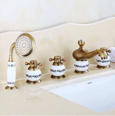 Kitchen faucet Bathroom faucetNew arrival brass gold and jade 5 pcs Deck-Mounted bathroom bathtub faucet set with shower head Tub Filler Faucet Mixer Taps,antique and jade