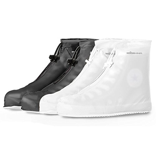Premium Reusable Boot & Shoe Waterproof Covers , Slip-resistant | Durable , Water Resistant | Adjustable Zippered Over Shoes Slip Protector for Men and Women SMLXLXXL (L: 10.8 inch, White)