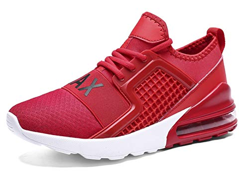 TSIODFO Men s Trail Running Shoes Lightweight Breathable Comfort Fashion Sneakers Youth Big Boys Tennis Shoes red White Black