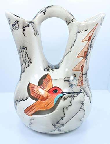All Tribe Silver Horse Hair Pottery Large Hummingbird Wedding Gift Vase