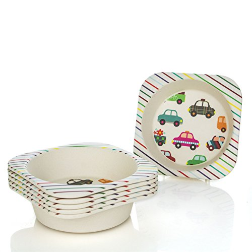 Tiny Dining Children's Bamboo Fibre Dining Bowl - Cars - Pack of 6 by Tiny Dining