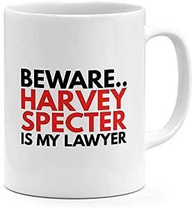 كوب أبيض مطبوع عليه Beware Harvey Specter Is My Lawyer