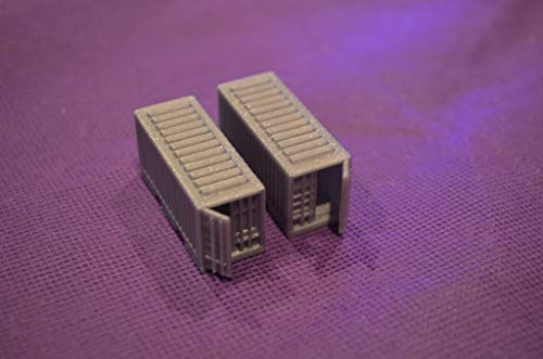 New N Scale 20' Unmarked Shipping Containers Set of 2 with Open Doors Item 5118